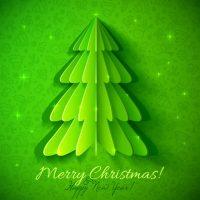 دانلود وکتور کریسمس درخت کاج در طرح سبز فانتزی