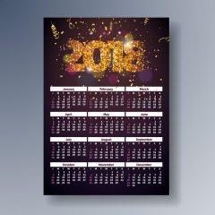 دانلود وکتور تقویم 2018 میلادی طرح جشن