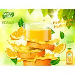 دانلود وکتور تکه های میوه و اب میوه پرتقال