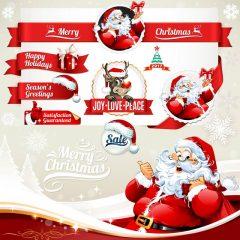 دانلود وکتور لیبل و برچسب بابانوئل جشن کریسمس