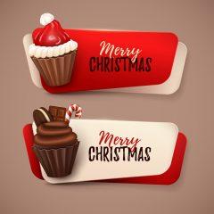 دانلود وکتور کیک شکلاتی کوچک کریسمس