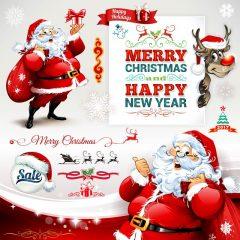دانلود وکتور سانتا کلوز و گوزن جشن کریسمس