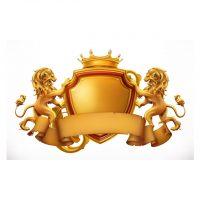 دانلود وکتور سپر طلایی با شیر های مجسمه ای