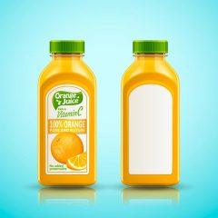 دانلود وکتور بطری اب میوه طرح پرتقالی تبلیغاتی