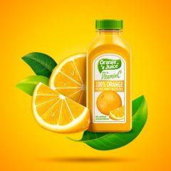دانلود وکتور بطری پرتقال به همراه تکه های میوه پرتقال