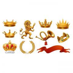 دانلود وکتور لوگو های طلایی با ارزش شاهی