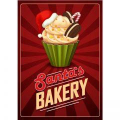 دانلود وکتور کیک کوچک با طرح خامه ای با کلاه کریسمس