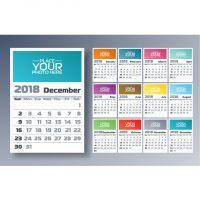 دانلود تقویم 2018 با ماه میلادی جداگانه