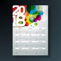 دانلود طرح تقویم 2018 با زمینه گرافیکی