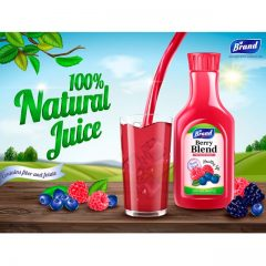 دانلود وکتور بطری اب میوه و لیوان گرافیکی