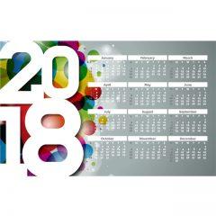 دانلود وکتور پوستر تقویم 2018 میلادی
