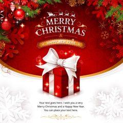 دانلود وکتور جعبه کادو قرمز کریسمس سال نو میلادی