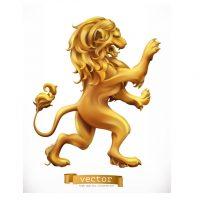 دانلود وکتور لوگو مجسمه شیر طلایی زیبا