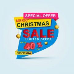 دانلود وکتور لیبل افر 40 درصد جشن کریسمس