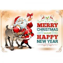 دانلود وکتور لیبل بابانوئل و گوزن کریسمس