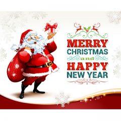 دانلود وکتور بابانوئل با فونت زیبا برای تبریک سال نو