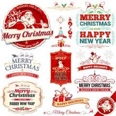 دانلود وکتور لیبل جشن کریسمس میلادی 2018