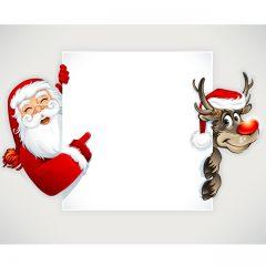 دانلود وکتور لیبل بابانوئل و گوزن زیبا شیک