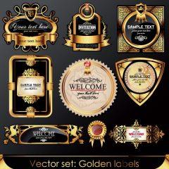 دانلود وکتور ست لیبل طلایی در طرح های مختلف