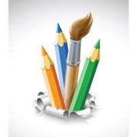 دانلود وکتور مداد رنگی و قلمو نقاشی فانتزی