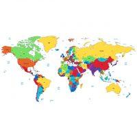 دانلود وکتور نقشه زمین با خطوط تقسیم بندی کشور ها