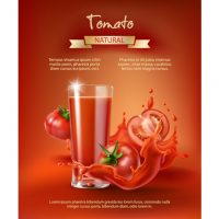 دانلود وکتور لیوان شیشه ای با اب گوجه فرنگی