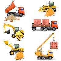 دانلود وکتور ماشین های سنگین برای حمل مصالح ساختمانی