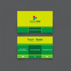دانلود کارت ویزیت فانتزی در رنگ های سبز و زرد