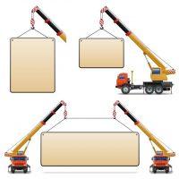 دانلود وکتور کامیون جرثقیل برای بالا بردن مصالح ساختمانی