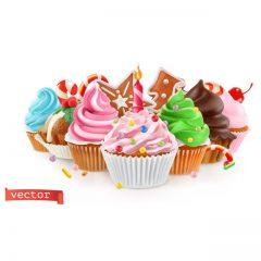 دانلود وکتور کیک های کوچک با تزئین خامه های رنگی