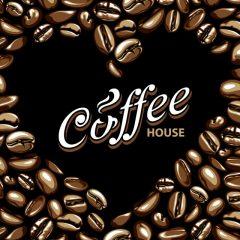 دانلود وکتور پس زمینه کافه با قهوه های کوچک