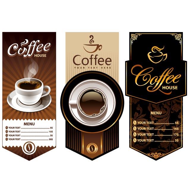 دانلود وکتور منو فنجان قهوه با فنجان و دانه های قهوه خاص