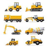 دانلود وکتور ماشین های سنگین برای ساخت و ساز ساختمانی