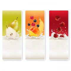 دانلود وکتور لیبل میوه و شیر خوشمزه
