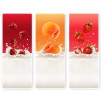 دانلود وکتور لیبل شیر و توت فرنگی