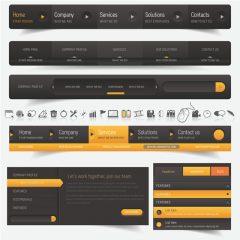 دانلود وکتور رابط کاربری قالب سایت مشکی و زرد