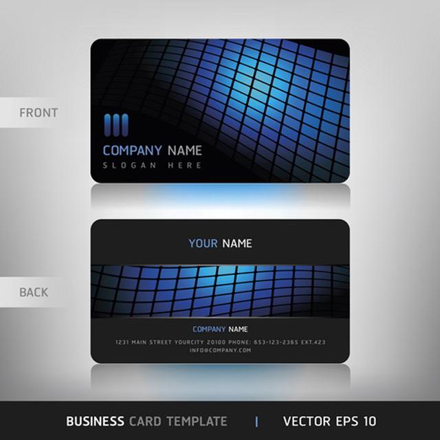 دانلود طرح لایه باز کارت ویزیت شرکتی هندسی ابی