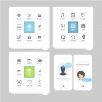 دانلود وکتور المنت های طراحی اپلیکیشن موبایل