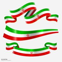 دانلود وکتور لایه باز مجموعه 3 طرح پرچم ایران به شکل روبان
