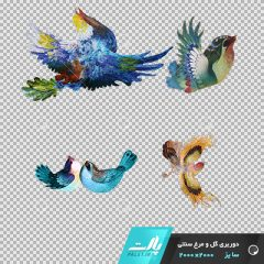 دانلود فایل دوربری شده گل و مرغ سنتی با 4 پرنده در سبک رنگی آبی در ابعاد 2000 در 2000