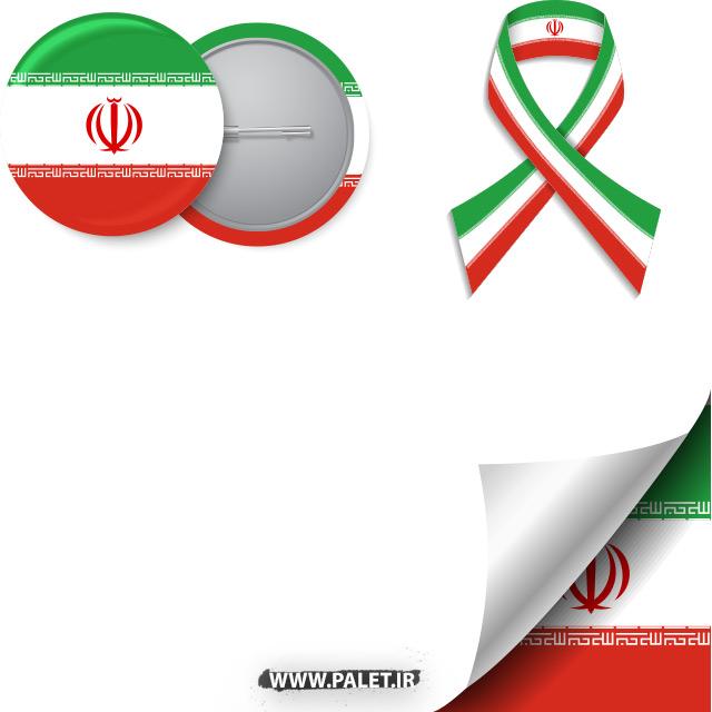 دانلود فایل وکتور لایه باز مجموعه پرچم 3 رنگ ایران همراه با نشان الله پرچم ایران