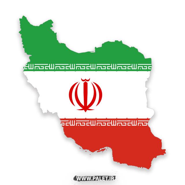 دانلود فایل وکتور لایه باز پرچم ایران در نقشه ایران با نشان الله