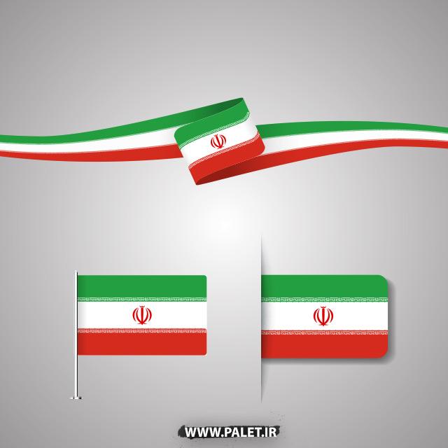 دانلود فایل وکتور لایه باز مجموعه پرچم 3 رنگ ایران با 2 شکل متفاوت و شیک