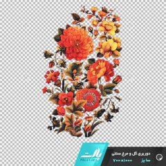 دانلود فایل دوربری شده گل و مرغ سنتی با تم نارنجی در ابعاد 1000 در 700