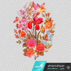 دانلود فایل دوربری شده گل و مرغ سنتی تم صورتی و نارنجی در ابعاد 3000 در 3000