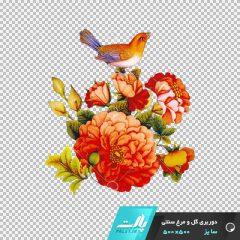 دانلود فایل دوربری شده گل و مرغ سنتی بوته ای با تم رنگی نارنجی شماره 2 در ابعاد 500 در 500