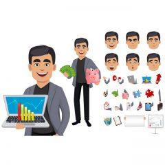 دانلود کاراکتر وکتور پک کامل آقای مهندس برای موشن گرافیک و انیمیشن