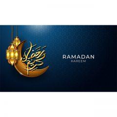 ماه مبارک رمضان با طراحی چراغ و ماه با پس زمینه آبی