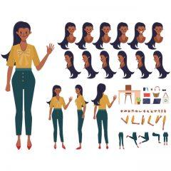دانلود وکتور لایه باز گرافیکی کاراکتر دخترانه شیک