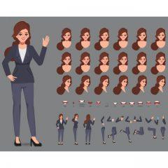 دانلود وکتور لایه باز گرافیکی کاراکتر زن مدل اداری خاص